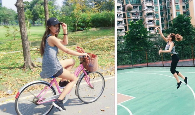 <p> Cô gái yêu thích vận động, từ đạp xe đến bóng rổ, đi bộ và tranh thủ tập luyện mọi lúc, mọi nơi.</p>