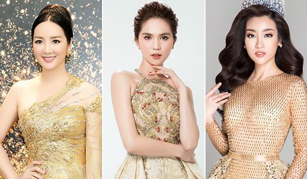 Từ trái qua: Hoa hậu Giáng My, Ngọc Trinh và Hoa hậu Đỗ Mỹ Linh làm khách mời đêm tiệc của Lavender.