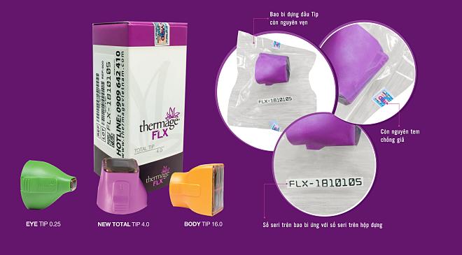 Đặc điểm nhận dạng đầu tip Thermage FLX chính hãng.