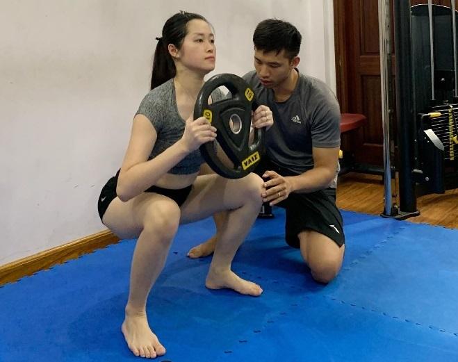 Sau khi về số cân mong muốn, Hương vẫn duy trì tập luyện để cơ thể săn chắc và khỏe mạnh hơn. Ảnh: Thùy An