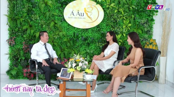 Siêu mẫu Thúy Hạnh và bác sĩ Phan Thanh Hào - Giám đốc Bệnh viện thẩm mỹ Á Âu - cùng xuất hiện trên truyền hình.