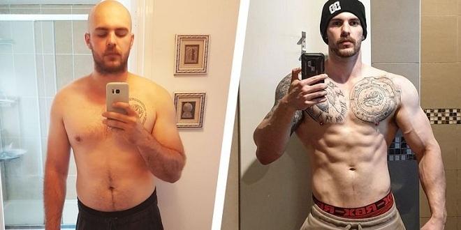Laurence Frappell trước và sau khi cai rượu, giảm cân. Ảnh: Mens Health