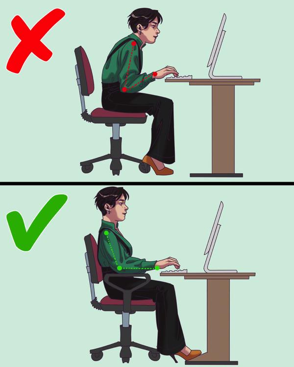Cánh tay nên gập một góc vuông 90 độ khi đánh máy hoặclàm việc vớimáy tính. Ảnh: Bright Side