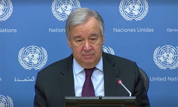 Tổng thư ký Liên Hợp Quốc Antonio Guterres trong cuộc họp trực tuyến, ngày 1/5. Ảnh: Reuters.