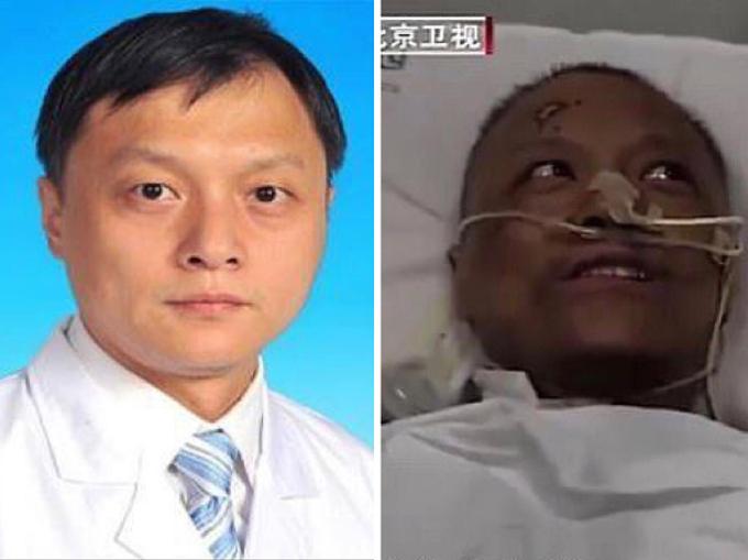 Bác sĩ Yi trước và sau khi nhiễm nCoV. Ảnh:Wuhan Central Hospital, Beijing Satellite TV