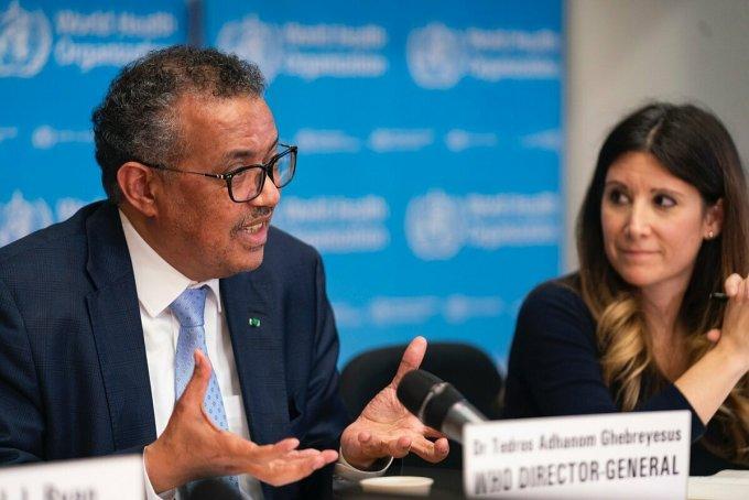 Tổng giám đốc WHOTedros Adhanom Ghebreyesus phát biểu trong cuộc họp tại thành phố Geneva, Thuỵ Sĩ. Ảnh: WHO