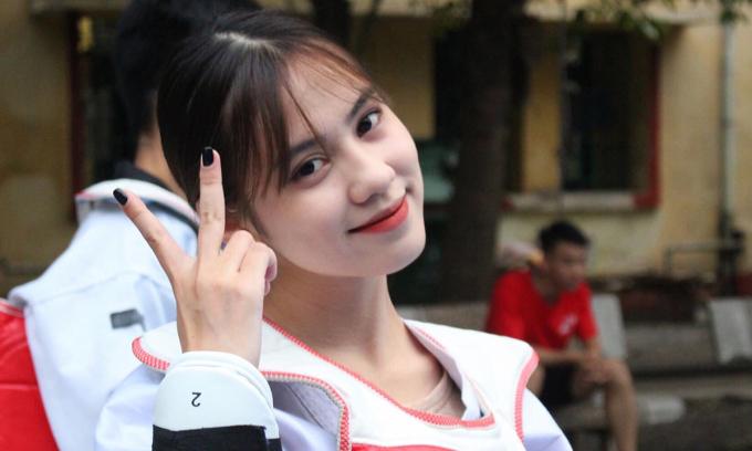 Trần Thu Giang được ví là hoa khôi của câu lạc bộ vì vẻ ngoài xinh xắn. Cô hiện mang đai đỏ và đã tập được 10 năm. Ảnh: Nhân vật cung cấp