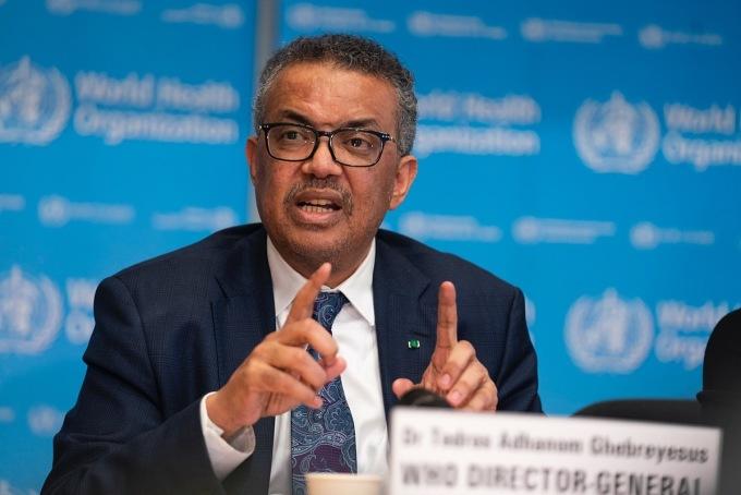 Tổng giám đốc WHO Tedros Adhanom Ghebreyesus trong cuộc họp báo tại Geneva, Thuỵ Sĩ hồi tháng 3. Ảnh: WHO
