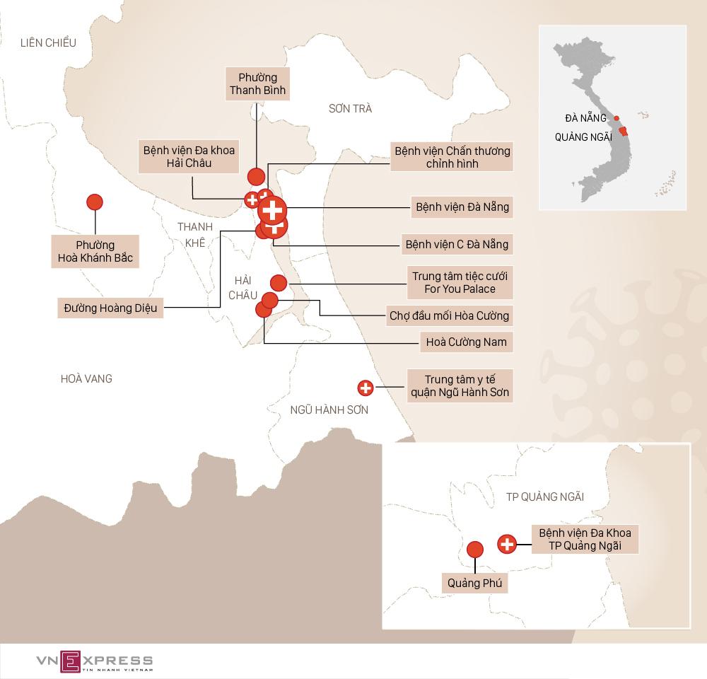 Địa điểm các bệnh nhân Covid-19 Đà Nẵng lui tới