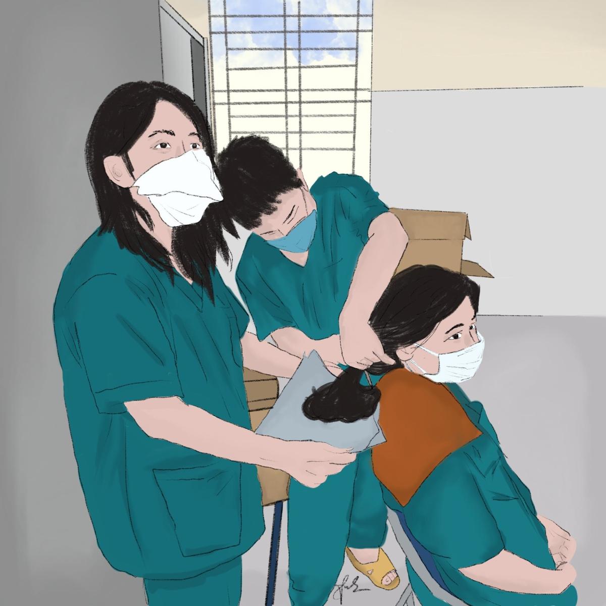 Cô gái Đà Nẵng vẽ y bác sĩ trong tâm dịch