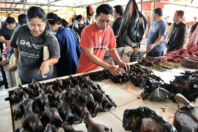Một khu chợ buôn bán động vật hoang dã tại Indonesia, năm 2017. Ảnh: AFP