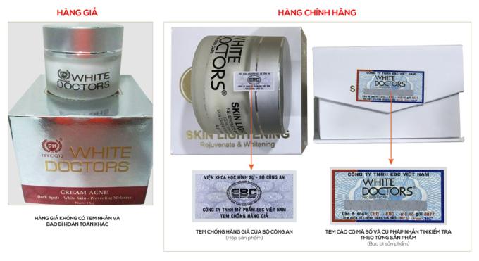 Trên thị trường đã xuất hiện sản phẩm giả White Doctors, người dùng cần kiểm tra kỹ tem mác bao bì trước khi mua.