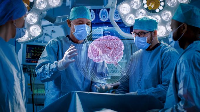 Mô phỏng sử dụng thực tế ảo trong phẫu thuật não. Ảnh: AA Vision