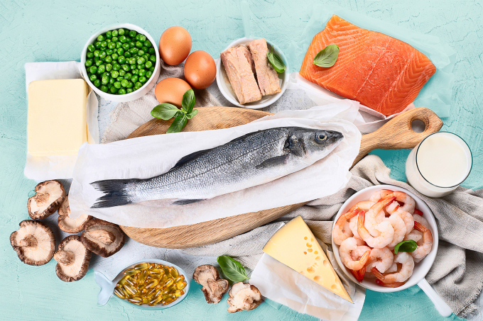Hình minh họa những loại thực phẩm chứa vitamin D. Ảnh: Shutterstock