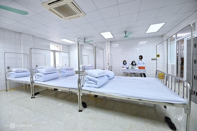 Khu vực theo dõi người tiêm thử Nanocovax tại Học viện Quân y. Ảnh: Giang Huy.