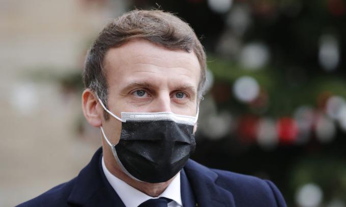 Tổng thống Emmanuel Macron tại Điện Elysee, thủ đô Paris, Pháp hôm 16/12. Ảnh:AP.