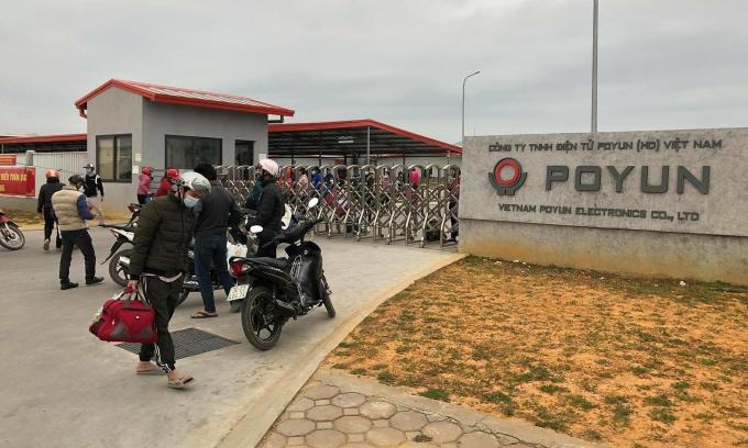 Công ty Poyun ở Hải Dương, nơi phát hiện các bệnh nhân Covid-19. Ảnh: Thế Quỳnh.