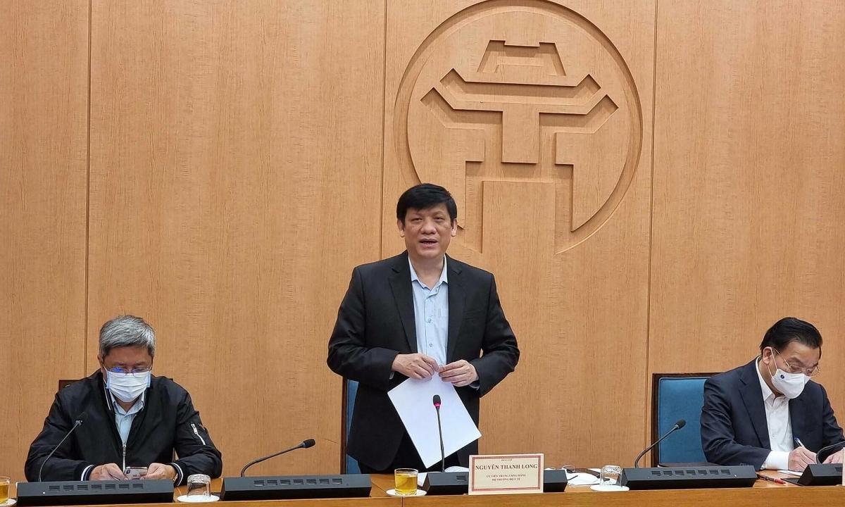 Bộ trưởng y tế Nguyễn Thanh Long làm việc với UBND TP Hà Nội, chiều 1-2. Ảnh: Tuấn Dũng