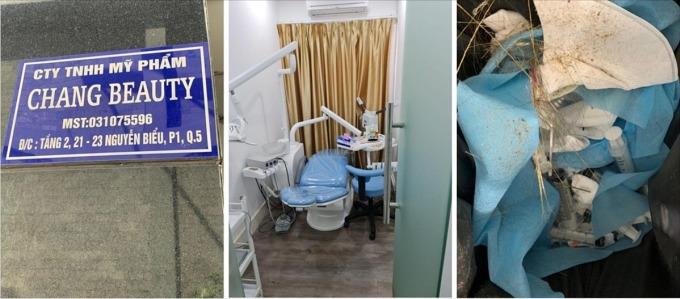 Bên dưới chung cư là biển hiệu Công ty TNHH Mỹ phẩm Chang Beauty, tại tầng 2 chung cư là cơ sở dịch vụ thẩm mỹ nhưngcó chứngcứ của phẫu thuật thẩm mỹ trái phép. Ảnh do Sở Y tế TP HCM cung cấp.