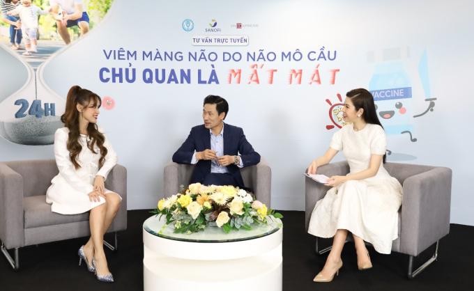 Tiến sĩ Đỗ Thiện Hải (giữa) và diễn viên Tú Vi (bìa trái) trong buổi tư vấn trực tuyến Viêm màng não do não mô cầu - Chủ quan là mất mát tổ chức vào giữa tháng 4.
