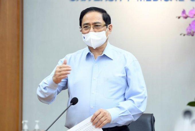Thủ tướng Phạm Minh Chính làm việc tại Bệnh viện Y Dược TP HCM chiều 13/5. Ảnh do bệnh viện cung cấp.