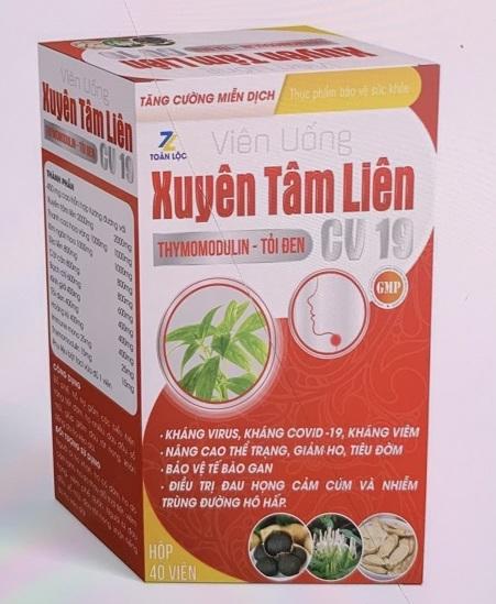 Sản phẩm Xuyên Tâm Liên CV19 có logo TOÀN LỘC (vỏ hộp màu đỏ), được Cục An toàn thực phẩm cảnh báo. Ảnh: Cục An toàn thực phẩm cung cấp.