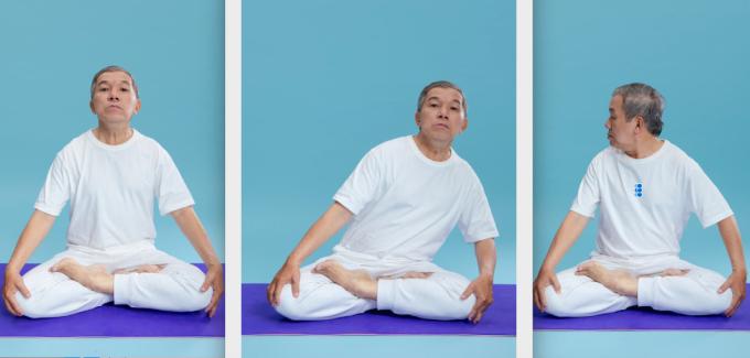 Bác sĩ Vũ hướng dẫn các động tác trong bài tập thở, lần lượt từ trái qua là giữ hơi mở thanh quản; dao động thân qua lại 2-6 cái (hình giữa) và thở ra bằng cách vặn chéo thân mình ngó ra phía sau bên phải hoặc trái. Ảnh: Bác sĩ cung cấp